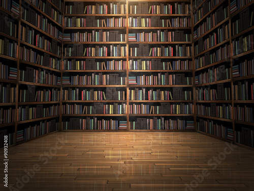 Fotografie, Obraz  Library room with books