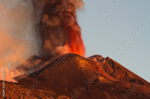 Volcano Etna Eruption - explosions and lava flow from the highest active volcano in Europe