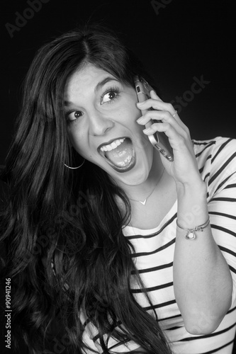 Poster Gypsy Excited beautiful brunette woman talking on her cell phone black