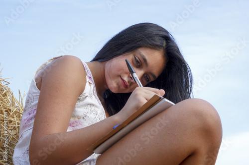 Fotografie, Obraz  Joven estudiante preparando la vuelta al cole