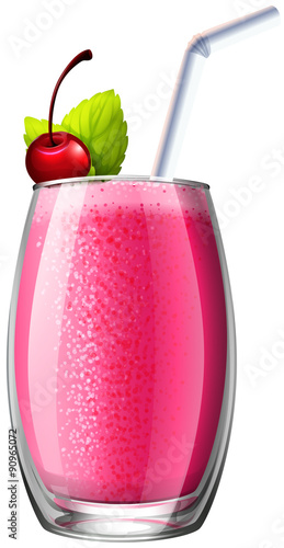 Smoothie with fresh cherry in glass - 90965072
