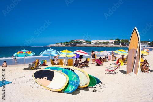 fototapeta na szkło Brazilians at Copacabana Beach, Rio de Janeiro. Brazil.