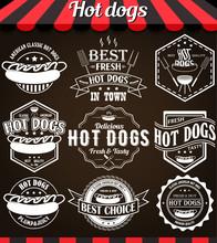 White Illustration Set Of Hot Dogs Retro Vintage Labels, Badges