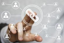 Businessman Hand Press Button Web Link Sign