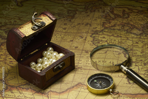 Old compass and Magnifier on vintage map Poster