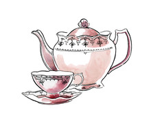 Hand Made Sketch Of Tea Sets. ...