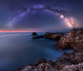 Panel Szklany Kosmos Milky Way over the sea. Night landscape with Milky Way Galaxy above the Black sea