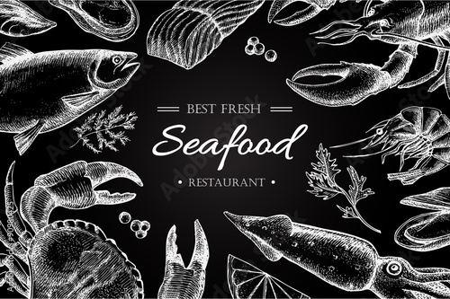 Poster  Vector vintage seafood restaurant illustration.