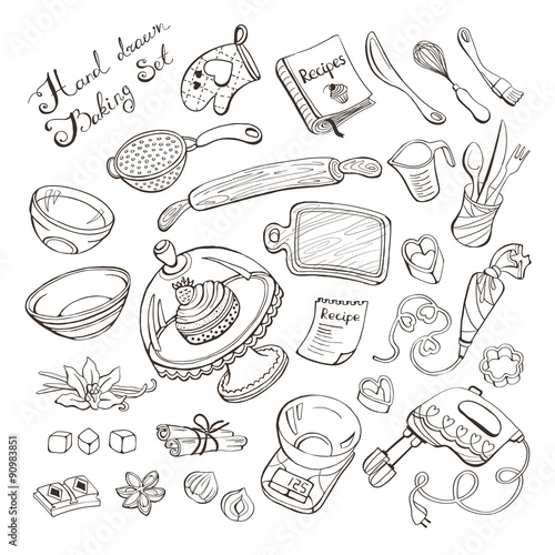 Fotografie, Obraz  baking items doodle set