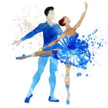 Couple Dancing Ballerina. Watercolor