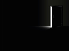 Darkness - Black Room With A Half Open Door And A Glimmer Of Light Coming In - As A Symbol For Fear, Frustration, Hope, Courage And For Taking A Chance. Vector Illustration.