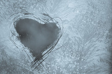 Scratched Heart On Frosty Window