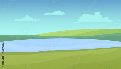Tuinposter Lichtblauw Meadows and lake on a sunny day with clouds. Digital raster illustration.