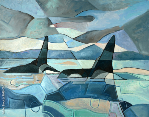 Abstract Painting of Orcas Swimming - 90991090