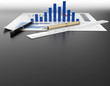 business document graph and stationary tool background