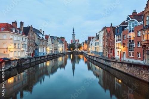 Deurstickers Brugge Jan van Eyck Square over the waters of Spiegelrei, Bruges