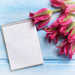 Pink tulips and tag for text