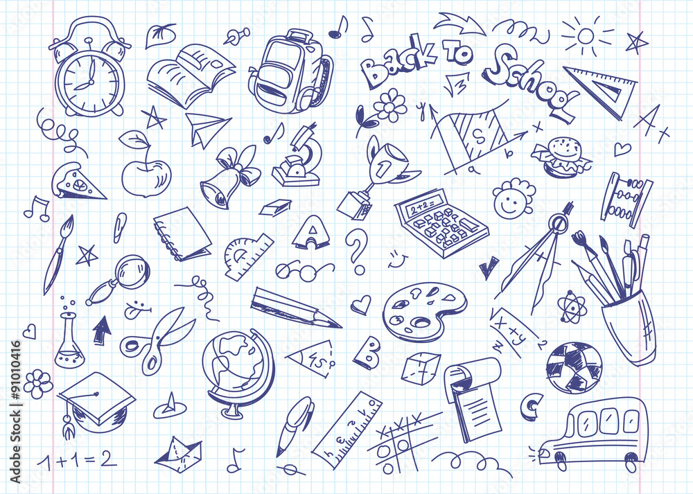 Stampe  Back to school drawing background on copy book paper