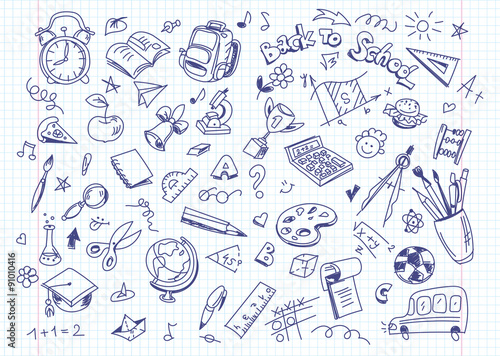 Fotografie, Tablou  Back to school drawing background on copy book paper