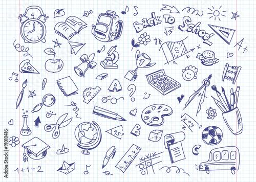Powrót do szkoły tle rysunku na papierze