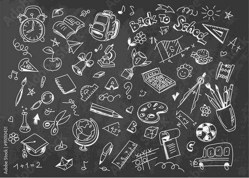 Stampe  Back to school vector drawing background on chalkboard