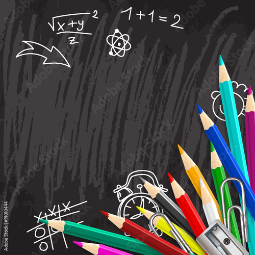 Stampe  Chalkboard school background with colorful pencils