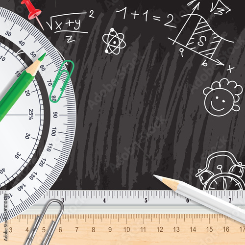 Stampe  Chalkboard school background with rulers