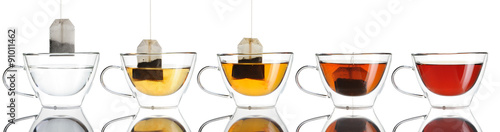Spoed Fotobehang Thee Teabag in the cup set