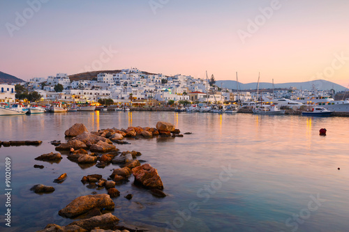 View of the port in Naousa village on Paros island, Greece Canvas Print