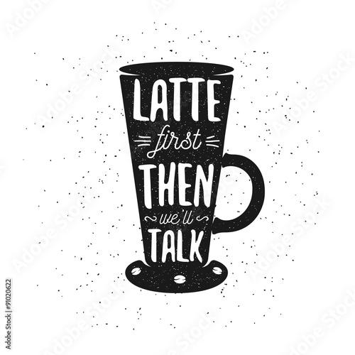 Ręcznie rysowane plakat kawa Typografia.