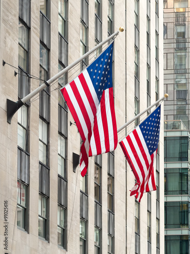 Plakát  American flags at the Rockefeller Center