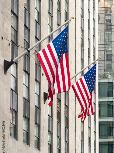 Fotografie, Obraz  American flags at the Rockefeller Center