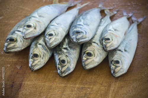Fotografija  Raw fish (scad) over natural wood background