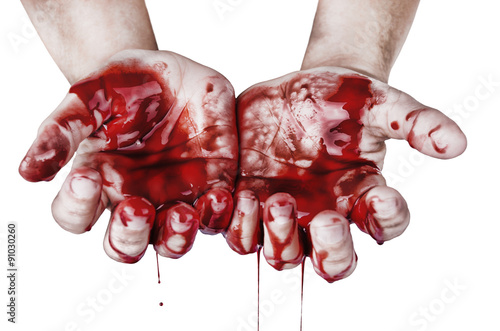 Hands in blood Canvas Print