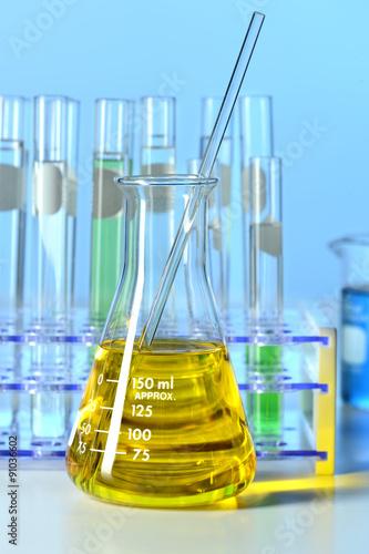 Laboratory Flask with Yellow Liquid