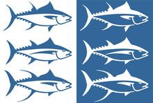 Stylized Tuna Fish Icon Set Including Three Types Of Tuna - Albacore, Bluefin And Yellowfin.