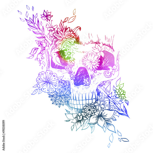 Poster de jardin Crâne aquarelle Abstract graphic skull, print.