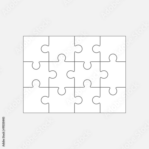 Jigsaw Puzzle Blank Template 4x3 Twelve Pieces