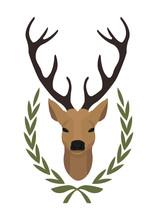 Deer Head In Laurel Wreath. Color