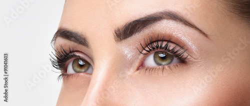 Photo Closeup shot of woman eye with day makeup. Long eyelashes