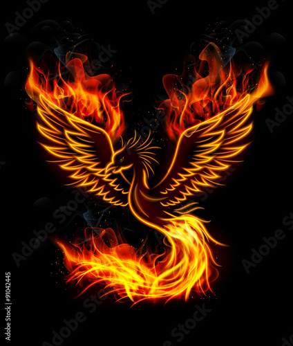 Photo  Fire burning Phoenix Bird with black background