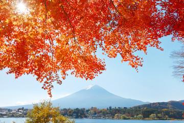 Panel Szklany紅葉と富士山