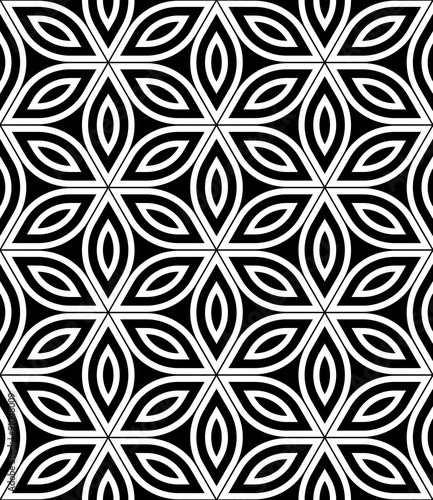 Vector Modern Seamless Sacred Geometry Pattern Black And White Abstract Geometric Flower Of Life Background
