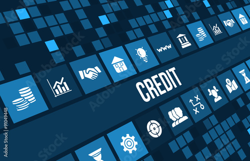 Fotografía  Credit  concept image with business icons and copyspace.