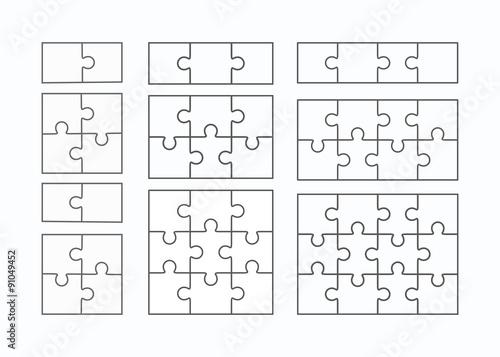 Fotografie, Obraz  Jigsaw puzzle vector flat blank templates set