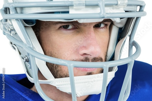 Fotografiet  Close-up portrait of stern American football player