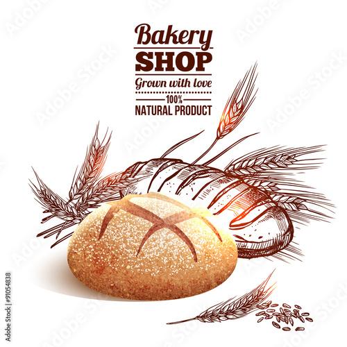 Fotografie, Obraz  Bakery Sketch Concept