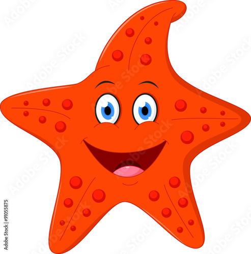 Happy Starfish cartoon Wallpaper Mural