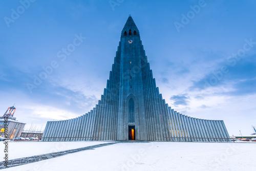Valokuva  Hallgrimskirkja cathedral in reykjavik iceland