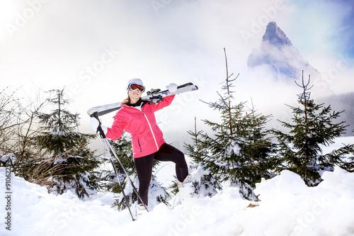 Tuinposter Wintersporten Skiing